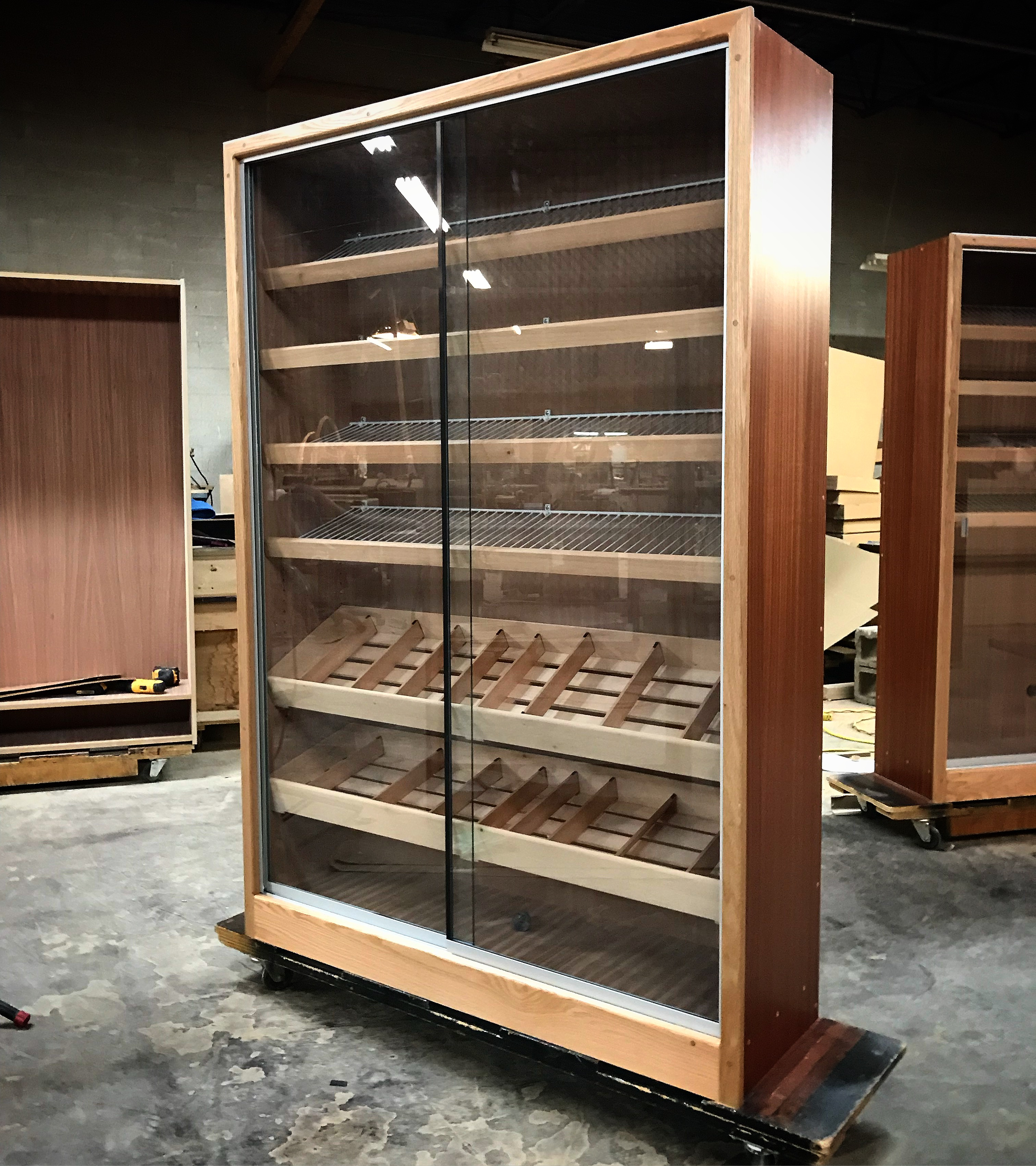 H-616 Base – Spanish Cedar Panel/Bins Combo